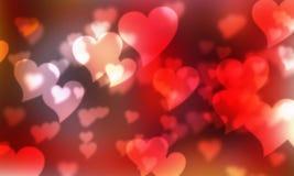 Bokeh do vermelho dos corações Imagens de Stock Royalty Free