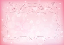 Bokeh effect and heart pink paper background Royalty Free Stock Photos