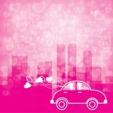bokeh et ville de forme de coeur de fond dans le ton rose Image libre de droits