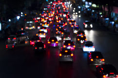 Bokeh of Evening traffic jam on road in city Royalty Free Stock Images