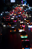 Bokeh of Evening traffic jam on road in city Stock Photography