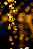 Bokeh för gula lampor Fotografering för Bildbyråer
