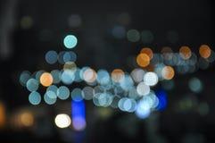 Bokeh för stadsljussuddighet Fotografering för Bildbyråer
