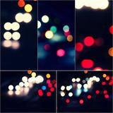 Bokeh and flare of blured background night scene set of images. Night blurred lights collage Stock Photos