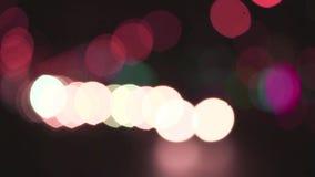 Bokeh. Flare night traffic lights, bokeh stock video