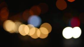 Bokeh. Flare night traffic lights, bokeh stock video footage