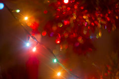 Bokeh garland on a Christmas Royalty Free Stock Photos