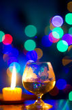 Bokeh with glass of wine Stock Image