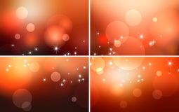 Bokeh and glitter red golden blur backgrounds a set. There is plenty of space for text, logo, photos and additional elements Royalty Free Stock Photography
