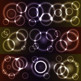 Bokeh glowing circles. Bokeh style glowing circles - set with 3 different colored overlays Royalty Free Stock Image
