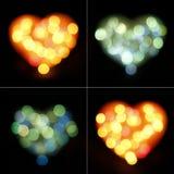 Bokeh Heart Shapes Set Stock Image