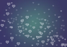 Bokeh hearts. With darkblue  background Royalty Free Stock Photography