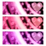 Bokeh Hearts Romantic Valentine Banners Headers. Header banner background with an out-of-focus bokeh like romantic blur, in three different color versions Stock Photos