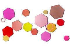 Bokeh hexagonal multicolor en el fondo blanco stock de ilustración