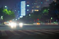 Bokeh-Hintergrund des Stadtlichtes stockbild