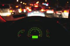 Bokeh i den bilinstrumentbrädan och visningen Royaltyfria Foton