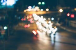 Bokeh ilumina o engarrafamento de carro fotografia de stock