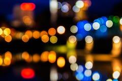 Bokeh iron bridge. Colorful nightlife Stock Image