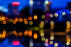 Bokeh iron bridge. Colorful nightlife Royalty Free Stock Image