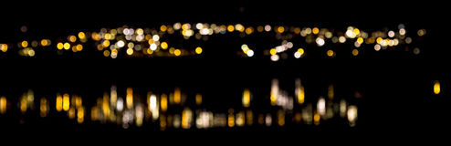 Bokeh lake. Showing llight blured out due to selective focus and the reflection on some water Stock Image