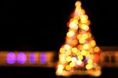 Bokeh Leuchten des Baums des neuen Jahres Stockbilder