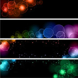 Bokeh light effect banners. Collection of banners with different designs of bokeh light effects Royalty Free Stock Photo