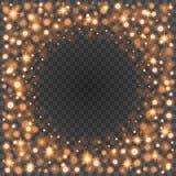 Bokeh light orange sparkles on transparency background vector illustration. Royalty Free Stock Photos