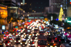 Bokeh from light on the traffic road in the city Royalty Free Stock Images
