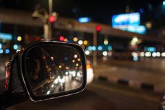 Bokeh lighting ,image of inside cars with bokeh lights from traf Royalty Free Stock Photo