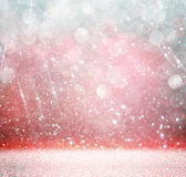 Bokeh lights background with multi layers and colors of white, pink, silver and blue Royalty Free Stock Photography