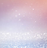 Bokeh lights background with multi layers and colors of white silver and blue. Stock Photos