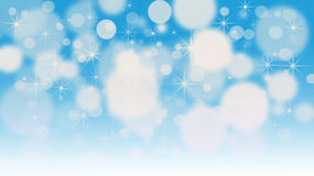 Bokeh lights background with multi layers and colors of white. Silver and blue with snowflakes overlay Stock Photography