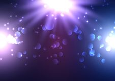 Bokeh lights background with spotlights. Shining down stock illustration
