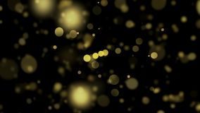 Bokeh lights backgrounds. Defocused golden led bulbs abstract background. 4K. stock illustration
