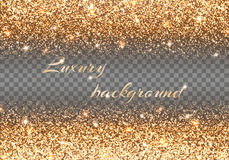 Bokeh lights. Bling background. New year celebration. Gold lights. Christmas ornaments. Vector decoration Royalty Free Stock Image