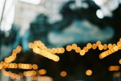 Bokeh lights from a carousel in Central Park New York. Abstract image, out of focus bokeh lights from a carousel in Central Park New York royalty free stock photography