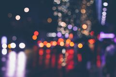 Bokeh lights in city streets Royalty Free Stock Images