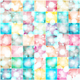 Bokeh lights on colorful squares abstract background Stock Image