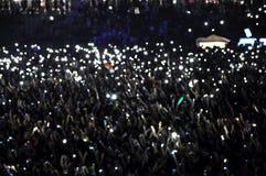 Bokeh lights. De focused bokeh lights of smart phones Royalty Free Stock Photo