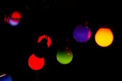 Bokeh lights. Bokeh effect with bulbs. Black background Stock Photo