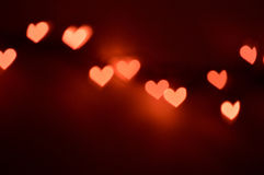 Bokeh lights, heart shapes stock photo