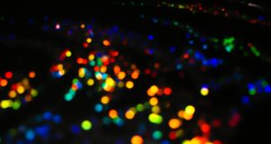 Rainbow Theme Bokeh Lights in many various, bright, and pretty c stock image