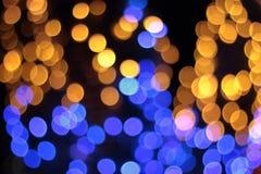 Bokeh ljus av den LEDDE lampan i natten Arkivfoton
