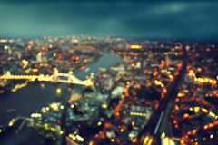 Bokeh of London aerial view with Tower Bridge Royalty Free Stock Images