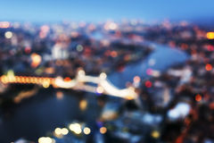 Bokeh of London aerial view with Tower Bridge Stock Photos