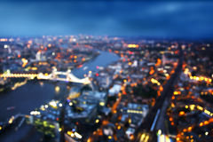 Bokeh of London aerial view with Tower Bridge, UK Stock Photos