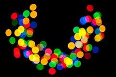 Bokeh lumineux et beau d'une guirlande électrique images stock