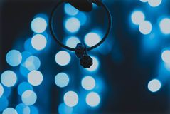 Bokeh luminoso delle luci blu fotografia stock libera da diritti
