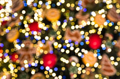 Bokeh made of Christmas tree decorations Royalty Free Stock Images