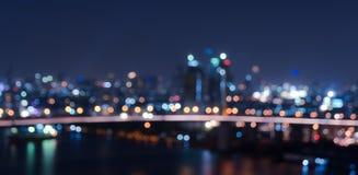 Bokeh miasto zaświeca tło Obrazy Royalty Free